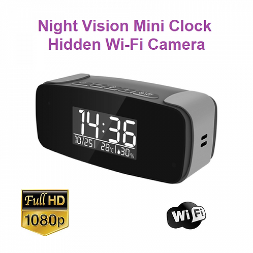 Night Vision Mini Clock Hidden Wi-Fi Camera