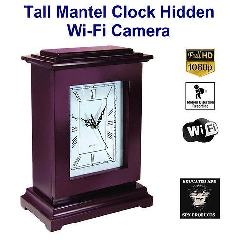 Tall Mantel Clock Hidden Wi-Fi Camera