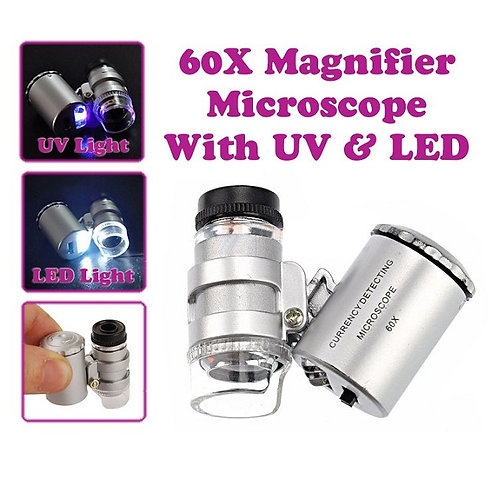 Mini 60X Magnifier Microscope w/ UV & LED Light