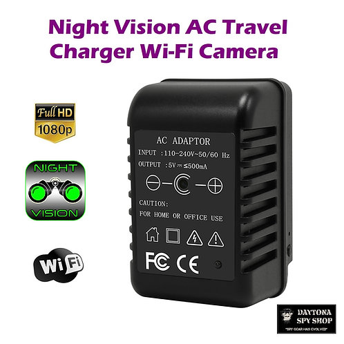 Night Vision AC Travel Charger Wi-Fi Camera