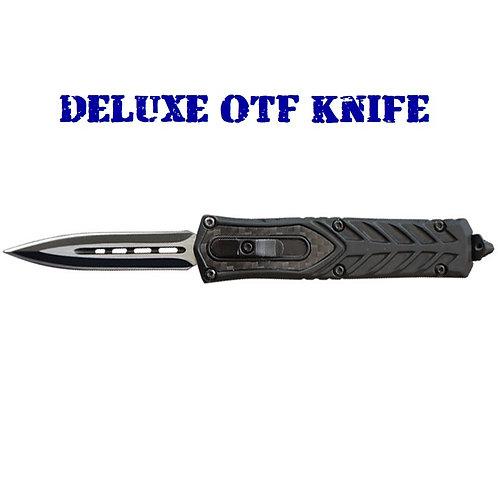 Deluxe OTF Knife - USA Carbon Fiber Insert - Double Edge