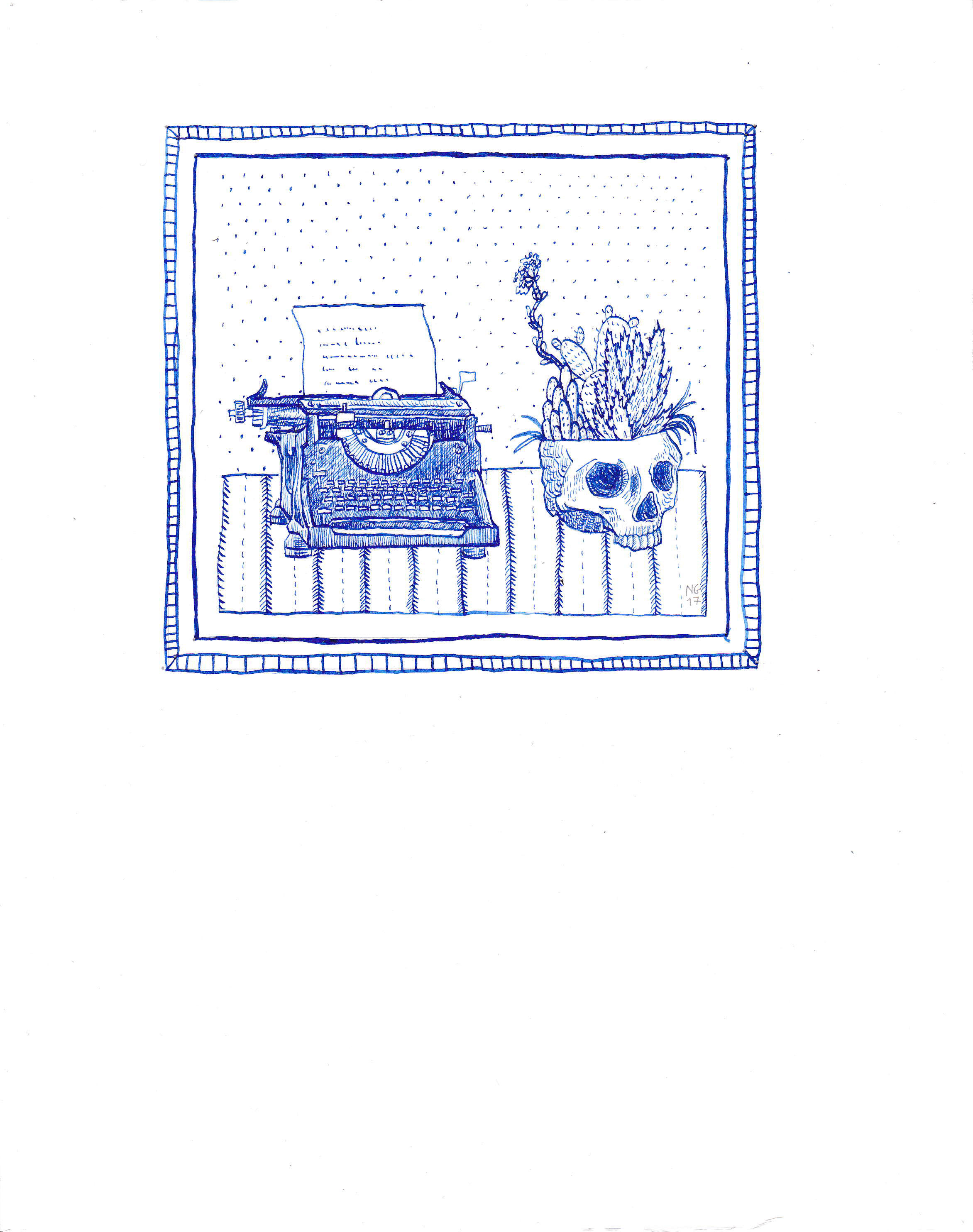 typewriter and skull