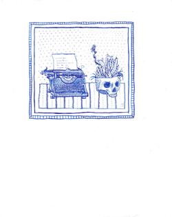 typewriter and skull