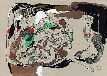 """Chaos"" (cardboard, mixed media) 31x22 cm, 696 $"