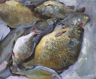 """""""Fish"""" (paper, mixed media) 27x22.5 cm, 595 $"""