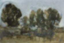"""Poplars"" (paper, watercolor) 27x18.5 cm, 439 $"