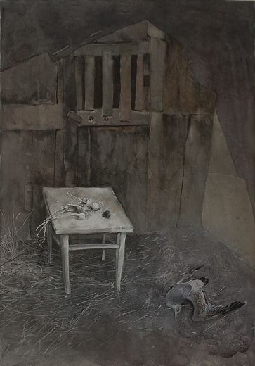 """""""Shed and Seagull"""" (paper, mixed media) 49x34 cm, 696 $"""