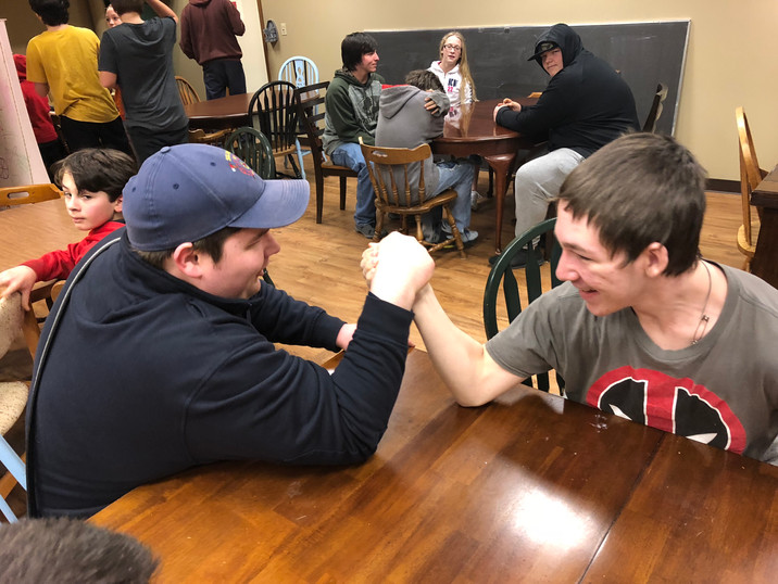 A friendly arm-wrestling match!