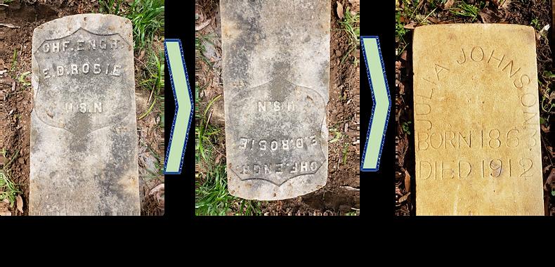 Robie to Johnson gravestone transformati