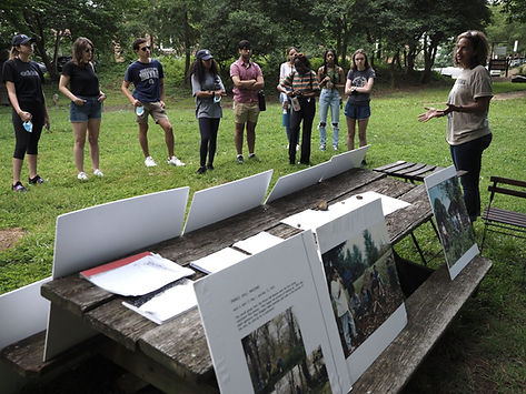 2021 Exec Director Lisa Fager educates GU students on cemetery historhy and lives of inter