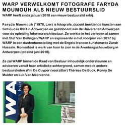 WARP VERWELKOMT FOTOGRAFE FARYDA MOUMOUH