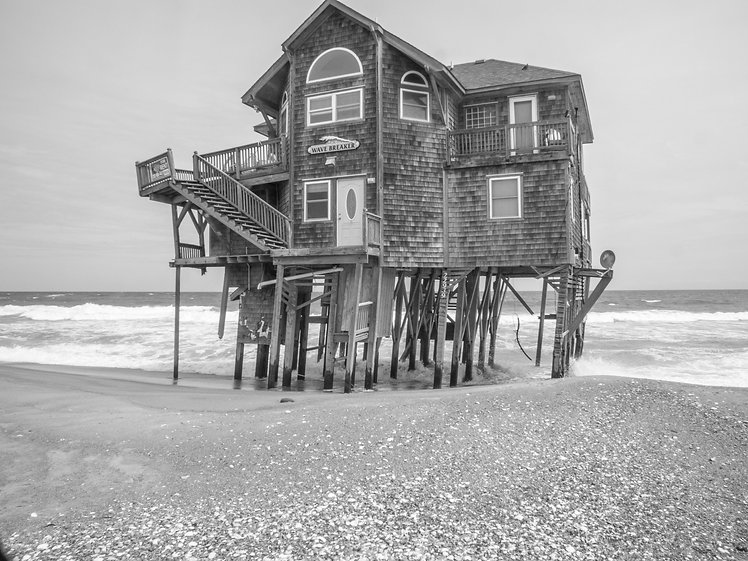 Wave Breaker - Abandonded house on the beach, Outer Banks, North Carolina