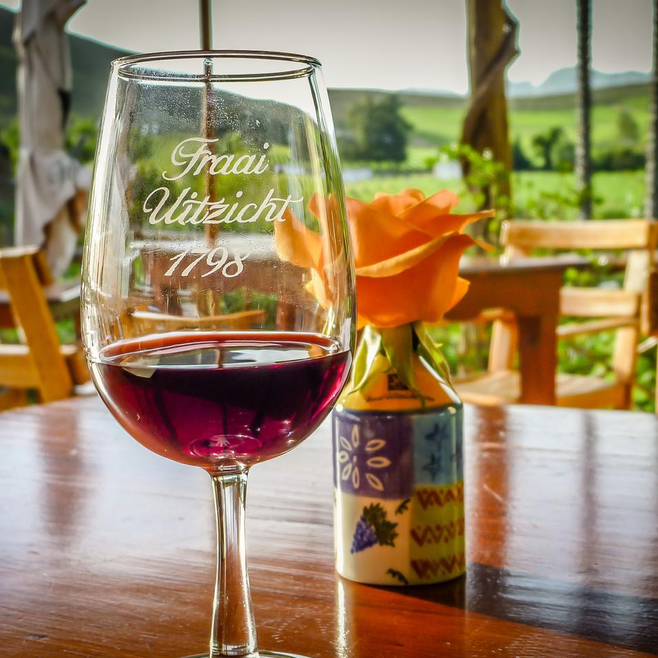 Red wine at Fraai Uitzicht restaurant, Robertson, South Africa