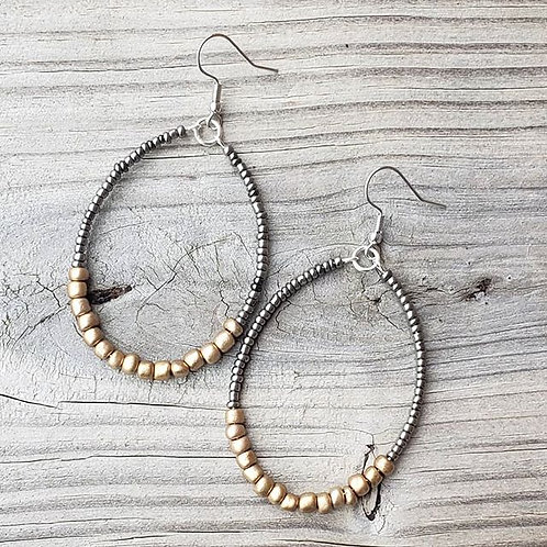 Beaded Oval Hoops
