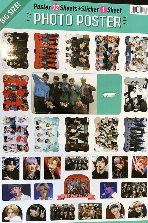 ATEEZ Big Size Posters 12 Sheets & 1 Sheet Sticker Set Free Shipping