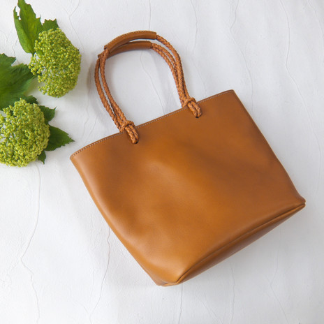 Woven Handle Tote Camel