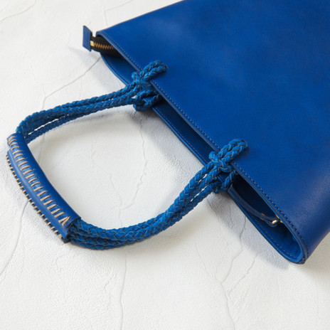 Woven Handle Tote Blue