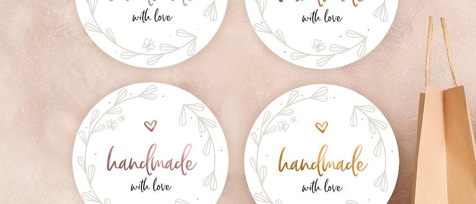 Handmade with love - Aufkleber (Farbe+)