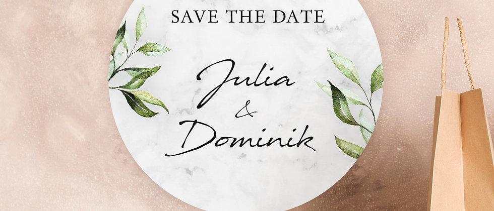 Save the date, Zur Hochzeit, Blätter - Aufkleber (Farbe+)