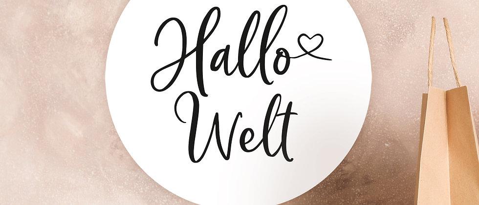 Hallo Welt - Aufkleber, Geburt (Farbe+)