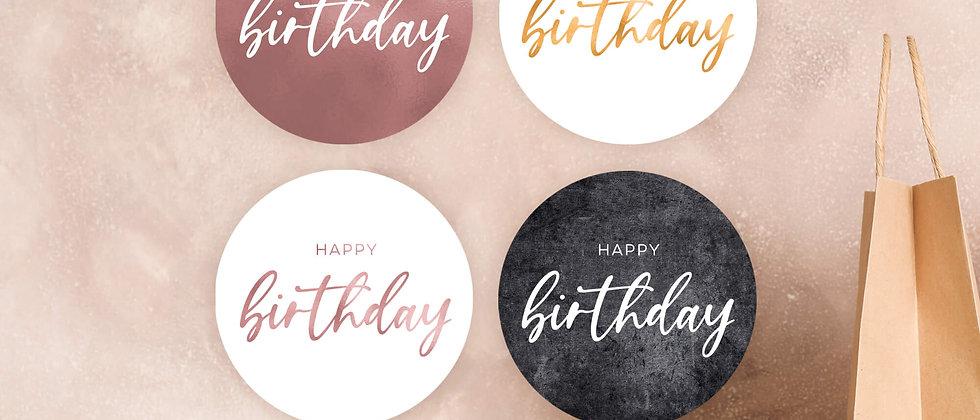 Happy Birthday - Aufkleber, 30mm (Farbe+)