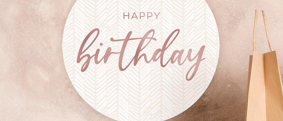 Happy Birthday - Aufkleber, Boho (Farbe+)