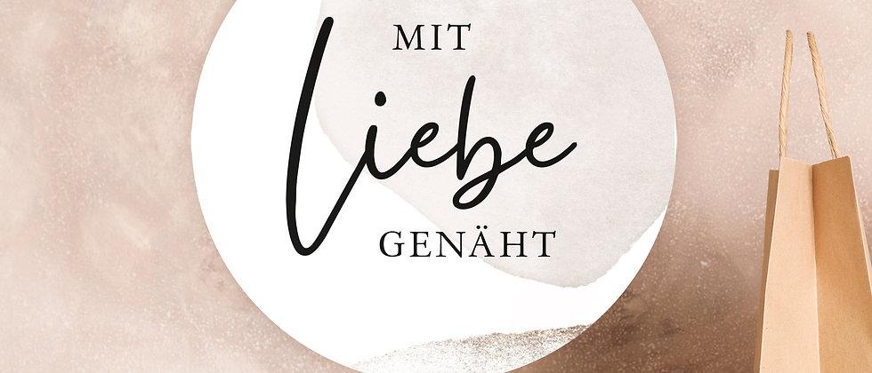 Mit Liebe genäht - Aufkleber, Beige (Größe+)