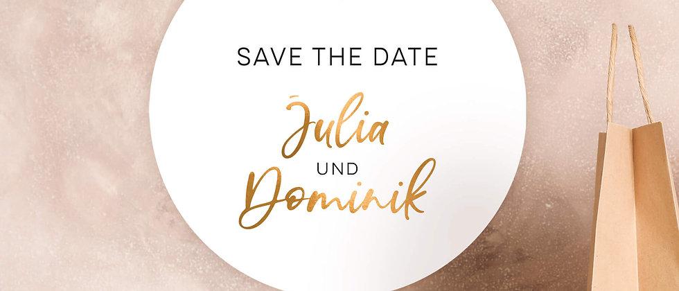 Save the date, Zur Hochzeit -  Aufkleber (Farbe+)
