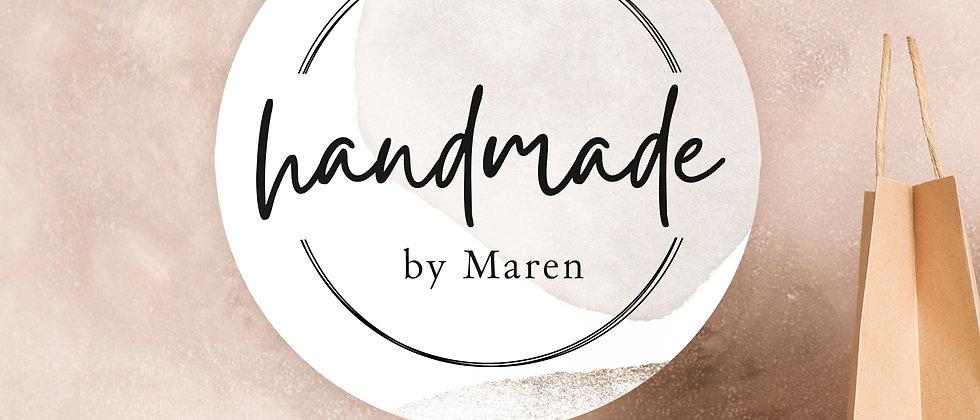 handmade by - Aufkleber, Beige, personalisiert (Größe+)