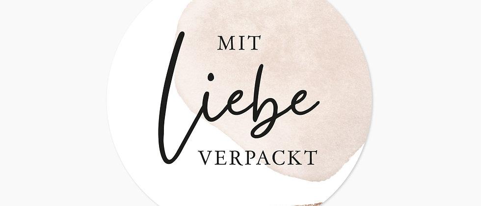 Mit Liebe verpackt - Aufkleber, Beige (Größe+)