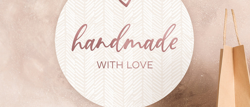 Handmade with love - Aufkleber, Boho (Farbe+)