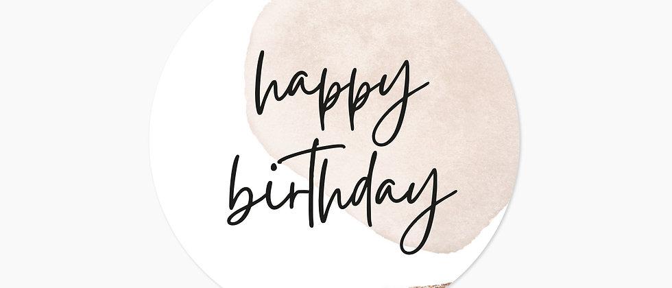 Happy Birthday - Aufkleber, Beige (Größe+)