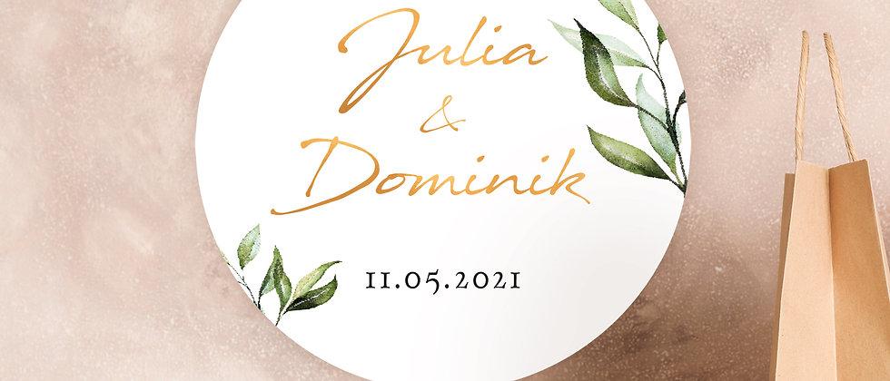 Zur Hochzeit, Blätter - Aufkleber (Farbe+)