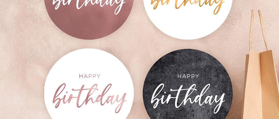 Happy Birthday - Aufkleber (Farbe+)