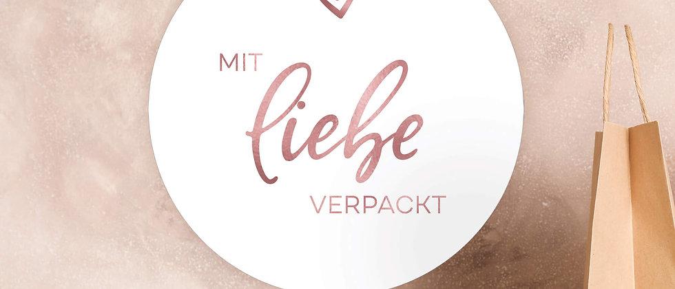 Mit Liebe verpackt - Aufkleber (Farbe+)