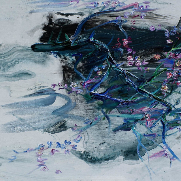 4, Maehwa (Plum Blossoms) 2018-3, Oil on linen 53x72.7cm, 2500€