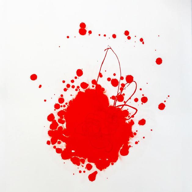 Super Love II Techniques mixtes et poudre et pigments sur Papier  72 x 57 cm, 2018- VENDU
