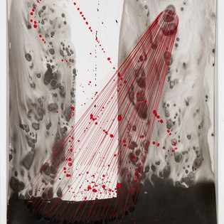 Refuge intérieur II Encre de Chine, pigments sur papier, fils élastiques ,  64 x 50 x 10 cm, 2011