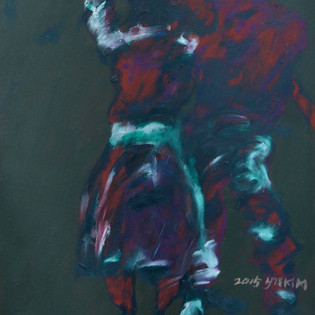 """Indifference """"Kim Young-Mi 2 000€ , 40.4x50.2cm, oil on paper, 2015  2 100€"""