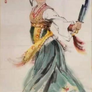 DANSEUSE AUX SABRES Seong Min KIM Peinture coréenne sur papier - 136cm × 68cm - 6 000€