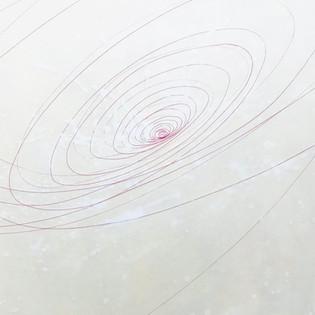 A fleur de peau: Espace 7 Sun Mi Kim - 2019    Poudre de marbre  et pigments, fils sur toile  130 x 879 cm (dimension variable avec fil élastique)