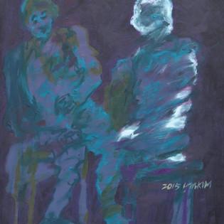 """대화 Dialogue """"Kim Young-Mi 대화 Dialogue, 40.7x50.2cm, oil on paper, 2015  2 100€"""