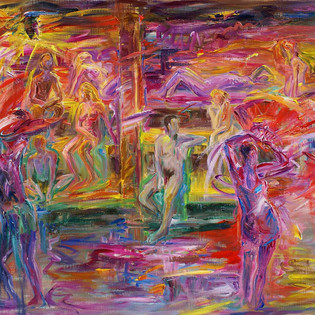 AUFGUSS Aufguss in Thermes sauna, Oil on linen 80.3x116.8cm 7000€