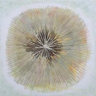 Relation1, LeeA-Ryung 60x60cm, Acrylic on canvas, cotton yarn,2016-VENDU