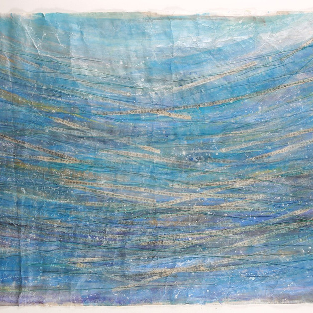 Relation 4 A-Ryung LEE 130x100cm,  Acrylic on Hanji paper, cotton yarn, old book, 2019   13,500€  (encadrement inclus)