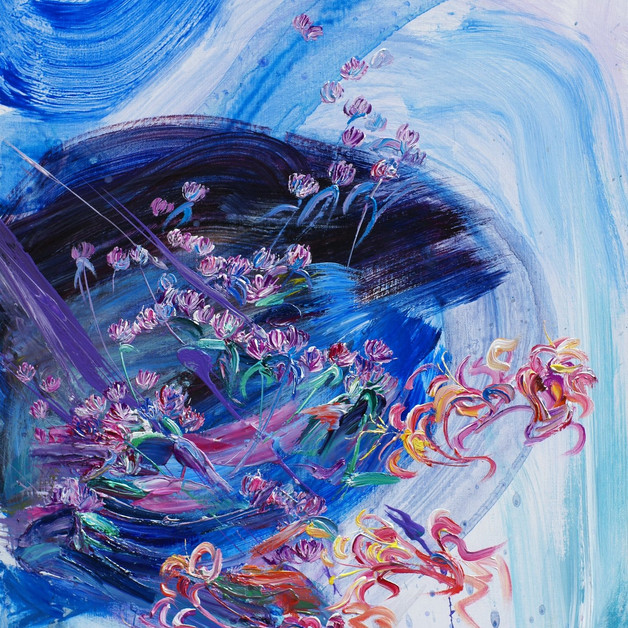 Flowers by the Alzette, Oil on Linen, 65 x 50cm, 2000€