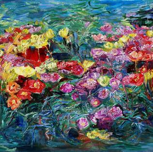 11, Rose moss -2016-Oil on linen 50x65.1cm, 2000€