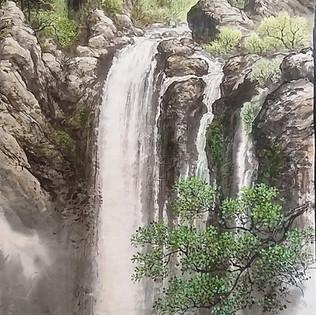 Kumgangsan, l'été sur la cascade-2009 ChoeYoung Sik, encre de chine,  pigments sur Hanji   3 000€