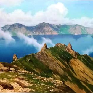 BAEKTUSAN ( Mont Baektu) - Kum Chol CHEO   Peinture à huile toile  200cm × 80cm  3 850€