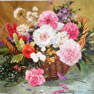 PANIER DE FLEURS  Jinmi RI Broderies  de  soie, nord  coréenne    51 x 39 cm  - 1 100€